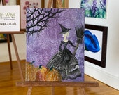 Miniature Witch Pumpkin Dollhouse painting original