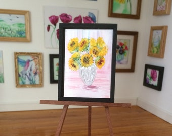 Sunflower Vase framed Dolls House original art DollHouse by miniature artist Hazel Rayfield