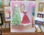 Christmas Miniature Dolls House Painting dressing room Original Miniature Art