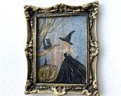 Dollhouse Witch Frame Original Art Miniature Painting By Hazel Rayfield