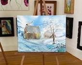 Winter Retreat Dolls House Original Art Winter Landscape by  artist hazel rayfield
