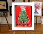 Modern Miniature Painting Original Art Christmas Tree dollhouse 1:12