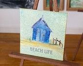 Dollhouse sign. Beach hut OOAK  art miniature plaque style painting