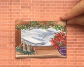 Window Painting 1:12th Winter Christmas Landscape Dollhouse Art Flowers on the Window sill