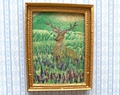 Stag Miniature Picture Framed Original Dolls House Landscape Painting.