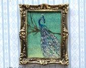 Peacock Dolls House Framed Painting by Miniature Artist Hazel Rayfield