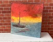 Modern dollhouse Sunset miniature painting modern style art