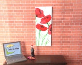 Red  Poppy flowers Painting Original modern Art for Dolls House miniature Dollhouse Picture