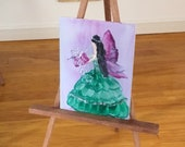 Fairy Godmother at Christmas with a gift Original miniature art Dolls House Painting