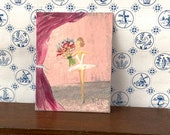 Ballet miniature painting, Dolls House Ballerina with her bouquet Original Art Painting