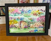 Secret Garden miniature original art Landscape painting dolls house or ACEO collectible