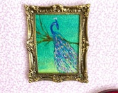 Peacock Dolls House Framed Painting by Miniature Artist Hazel Rayfield