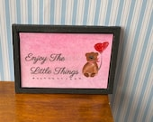 "Miniature ""enjoy the little things"" Dolls house Painting Framed handmade"