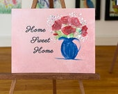 Miniature Home sweet home Dolls house  Painting red roses vase
