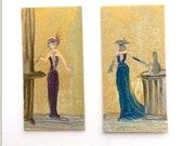 Miniature  Art Deco Style cocktail club Painting 2 Dollhouse miniature original art painting
