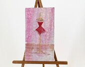 Miniature Dollhouse Painting Red Corset Mannequin wall art