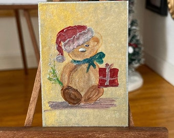 Dollhouse Christmas Teddy Bear original art Painting teddy holding a gift and mistletoe