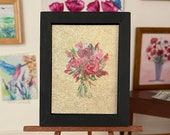 Dollhouse Beautiful Rose Bouquet, Framed Art Original Miniature Art Dolls House Painting Original Art