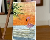 Pink flamingo Miniature Dolls House Original Art  Landscape Painting Dollhouse