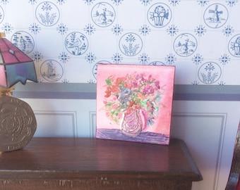 Miniature Dolls House 1:24 or 1 12th scale flower vase Original Art Painting Dollhouse