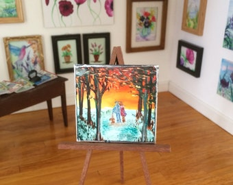 Dolls House painting miniature original art sunset landscape walking the dog  shown here in my 1:12 art gallery