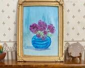 Dollhouse pink flowers  - miniature original art Framed