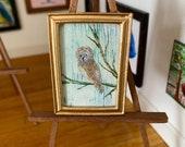 Owl miniature painting Framed original dollhouse art