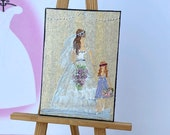 Miniature Painting bride and Bridesmaid flower girl Dolls House Painting