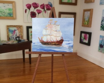 Dolls House painting tall ship galleon miniature original shown here in my 1:12 art gallery