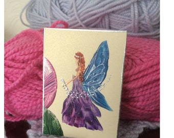 Crochet Fairy Miniature Collectible  wool shop inspired ACEO Paintings by Miniature Artist Hazel Rayfield