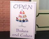 Miniature Dolls House cakes and Bakes  Advertising Open Billboard sign OOAK Original Miniature Art