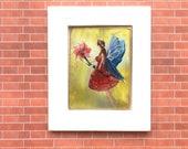 Flower Fairy Framed  Miniature Painting Original Art  dollhouse 1:12