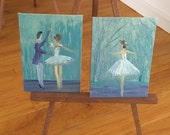 Ballet Dollhouse Paintings set of two ballerina  1:12th scale dolls house art