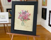 Rose Bouquet Framed Original Miniature Art Dolls House Painting Original Art
