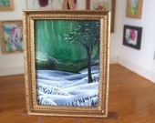 Miniature Aurora Borealis Landscape Winter framed painting Dolls House Painting Dollhouse Art 1:12th picture