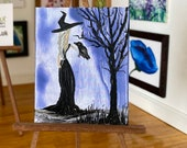 Dollhouse Miniature Witch with raven picture original art painting