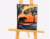 Africa Sunset elephant landscape Dollhouse Painting  Art Miniature Collectible Dolls House Paintings by Miniature Artist Hazel Rayfield