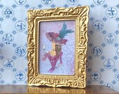 Vintage portrait Miniature  Framed Dolls House Painting countess Elena
