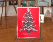 Christmas Tree  Dolls House Painting Original Art Miniature Collectible Dolls House Paintings by Miniature Artist Hazel Rayfield