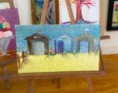 Beach Hut modern Miniature Original Painting Dolls House Art dollhouse OOAK