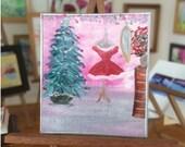 Christmas Miniature Dolls House Painting Santa dress dressing room Original Miniature Art
