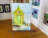 Beach Hut Seascape Miniature Original Painting Dolls House Art dollhouse OOAK
