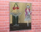 Cherry Cocktail Club Miniature  Art Deco Style Painting Dollhouse miniature original art painting