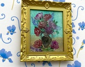 Vintage Roses Dolls House Original Art Painting Dollhouse