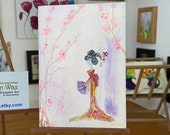 Geisha Girl with Fan Dolls House Original ACEO Painting Cherry Blossom
