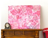 Pink roses  miniature  modern Art Dollhouse  statement piece At scale or Barbie 1 6th scale Painting canvas style original miniature art
