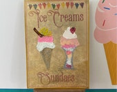 Dollhouse Ice cream Parlour Sign Style Painting miniature  art