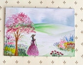 Miniature classic lady in a garden landscape Painting Art In Wax