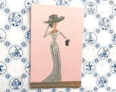 Miniature Lady Paintings, dollhouse original art painting