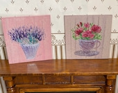 Modern Dollhouse Art  set of two miniature paintings. Roses and Lavender